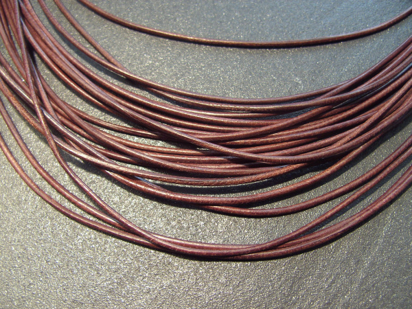 Lederband Ziege, ø 1,5 mm, L 1 m, braun