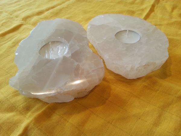 Teelichthalter Bergkristall flach