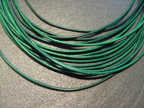 Lederband Ziege, ø 1,5 mm, L 1 m, dunkelgrün