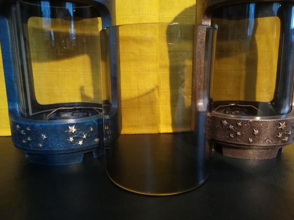 """Glasscheibe für Grablaterne """"Mond und Sterne V1"""" Rauchquarz"""