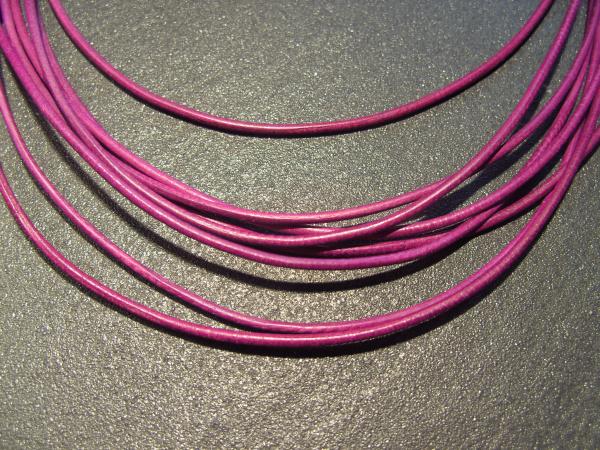 Lederband Ziege, ø 1,5 mm, L 1 m, fuchsia