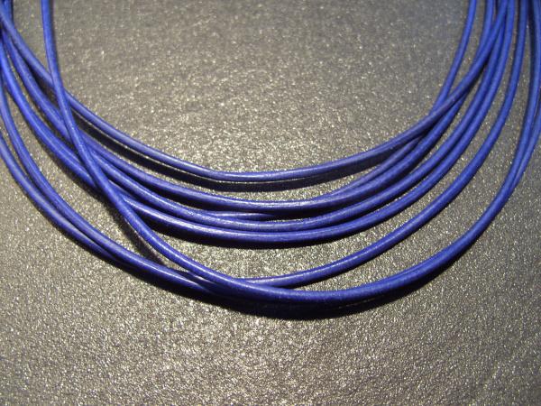 Lederband Ziege, ø 1,5 mm, L 1 m, königsblau