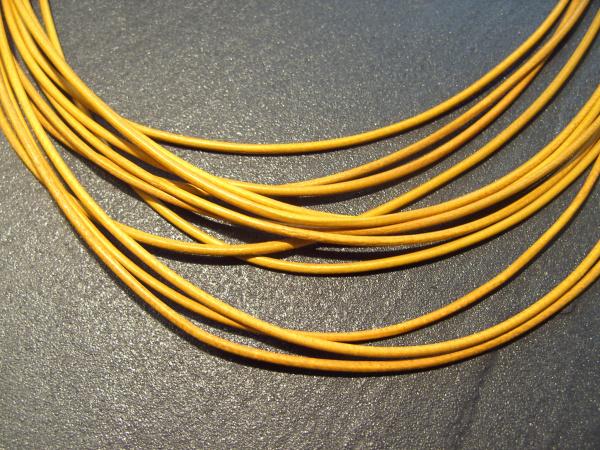 Lederband Ziege, ø 1,5 mm, L 1 m, gelb