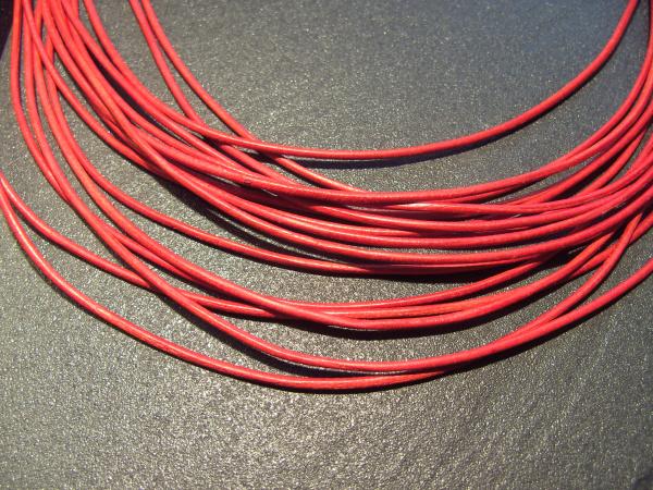 Lederband Ziege, ø 1,5 mm, L 1 m, rot